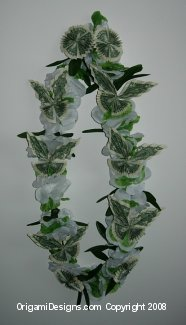 Green & White butterfly money lei