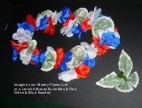 A patriotic money rosette lei