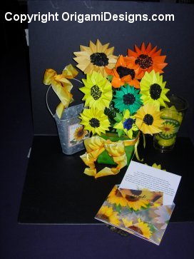 Custom Sunflower Bouquet, card, vase & more