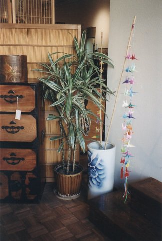 Designer bamboo poles with multi-strings of  bright colored origami cranes!
