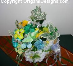 Spring Basket with money bouquet