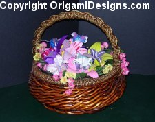 Bright spring colors in this basket bouquet