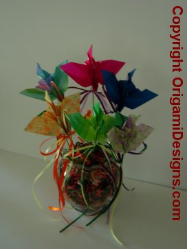 Popular are crane peace bouquets